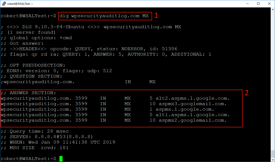 Using the Dig DNS tool to query MX records