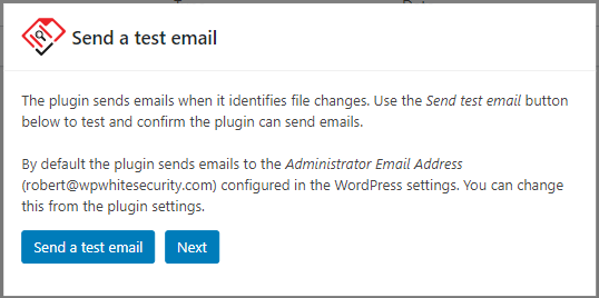 Email deliverability test in Website File Changes Monitor plugin
