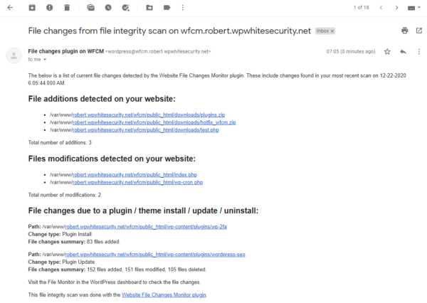 WordPress site file changes reported on email