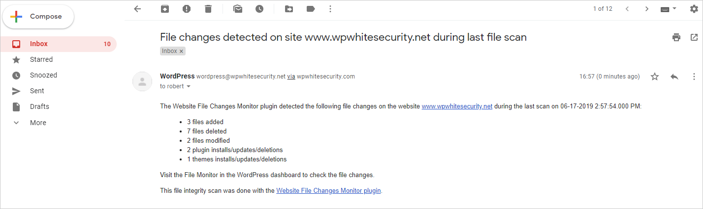 An email highlighting file changes on a WordPress website