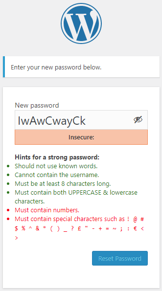 Password strength requirements highlighted in password reset page