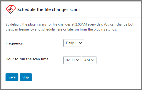 Scheduling the file integrity checks