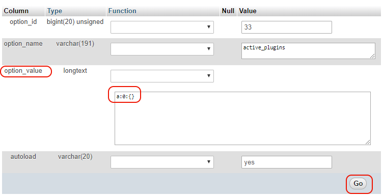 Changing the value of an option in the database
