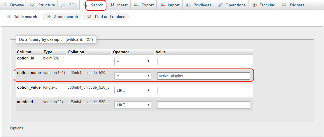Search in the WordPress database