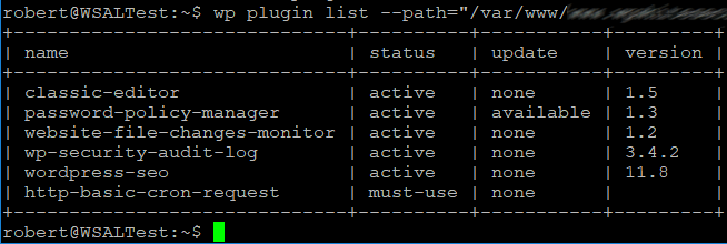 Using the wp plugins list command