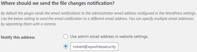 Change the file changes email notifications email address