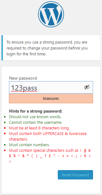Users are asked to change password on first time login