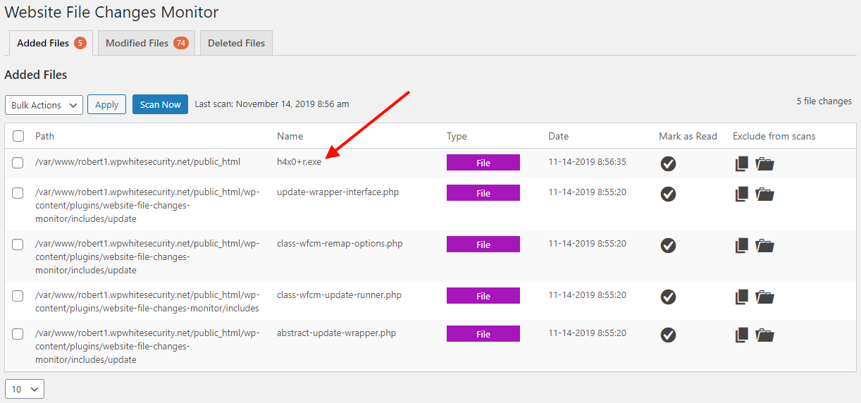 Plugin detects changes in files with special characters in their filenames.