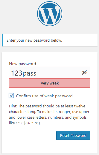 New user using a weak first password