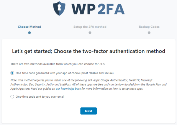 Setting up 2FA for your WordPress user