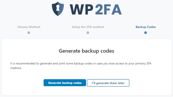 2FA wizard to generate backup codes