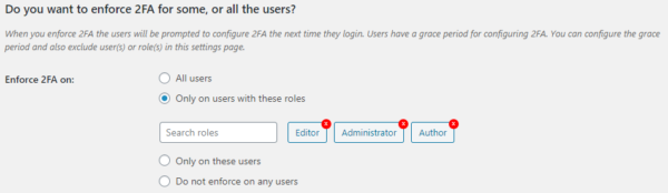 Enforce 2FA only for users with specific roles