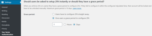 Configuring the grace period for user 2FA setup