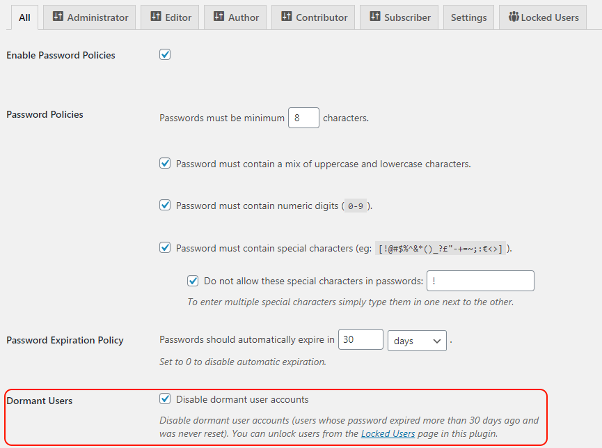 Enabling the dormant users policy