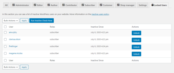 List of inactive users on a WordPress website