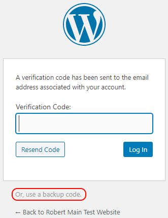 WordPress 2FA login page with link to backup codes