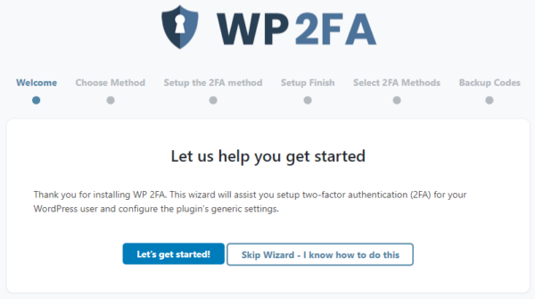 Getting started wizard in WP 2FA