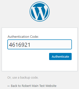 Enter the one-time code to login to your WordPress site