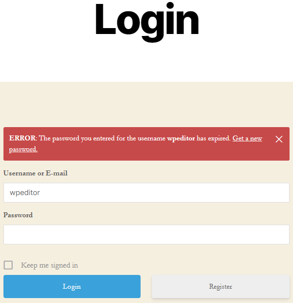 Expired password notification on a custom login page