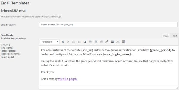 The email notification templates in WP 2FA
