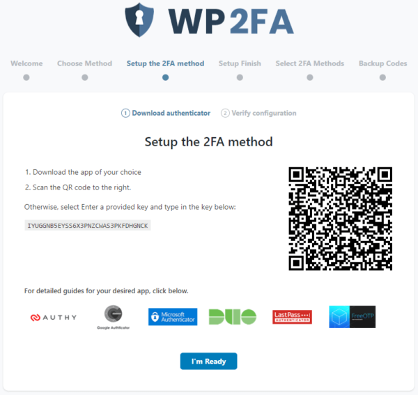 Configuring 2FA with one-time code from an app