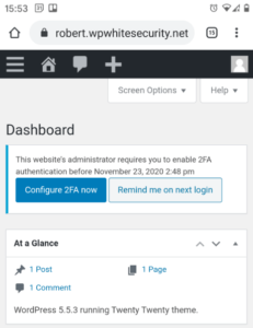 2FA reminder on mobile devices