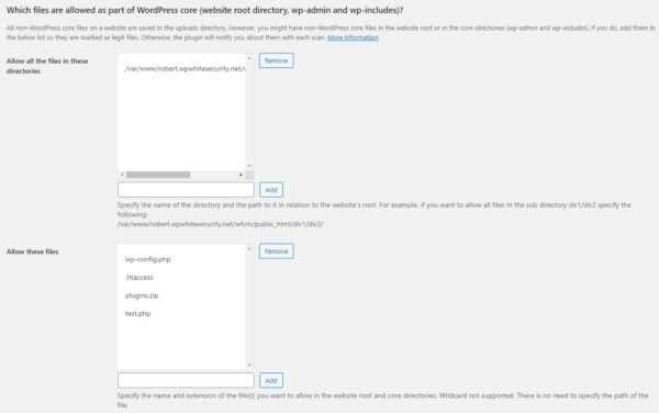The Allowed files and directories in WordPress core setting in the plugin