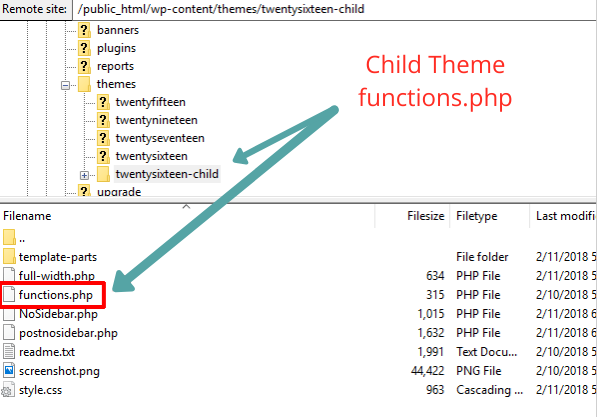 Directory of child themes functions.php