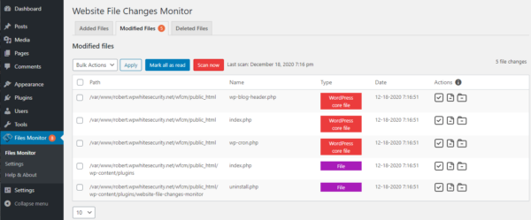 The plugin identified a number of modified WordPress core files