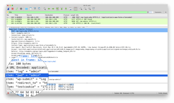 Unencrypted HTTP traffic from Wireshark