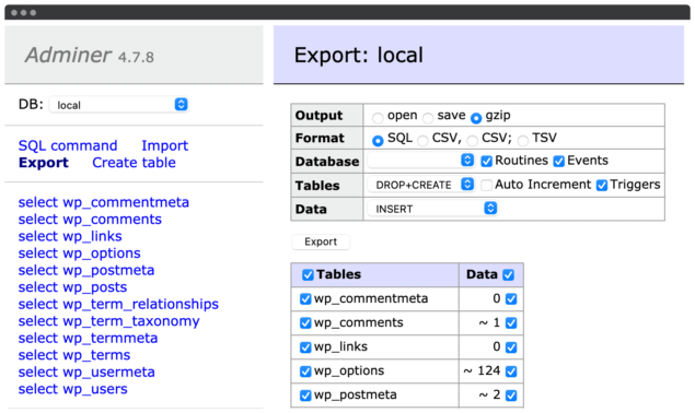 Exporting a database within Adminer.