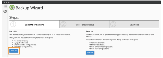Selecting a backup in the cPanel Backup Wizard.