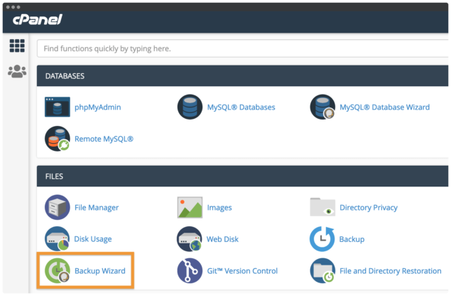 The Backup Wizard link within cPanel.