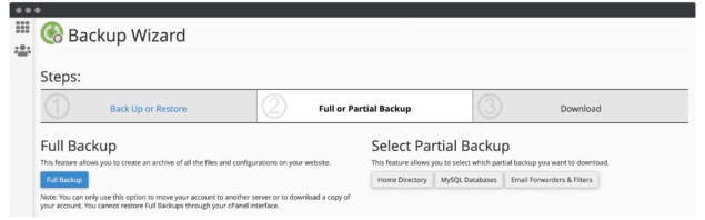 Choosing a full or partial backup within cPanel.