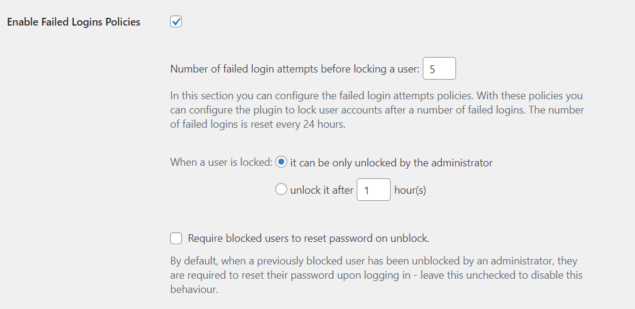 Failed Logins Policies settings